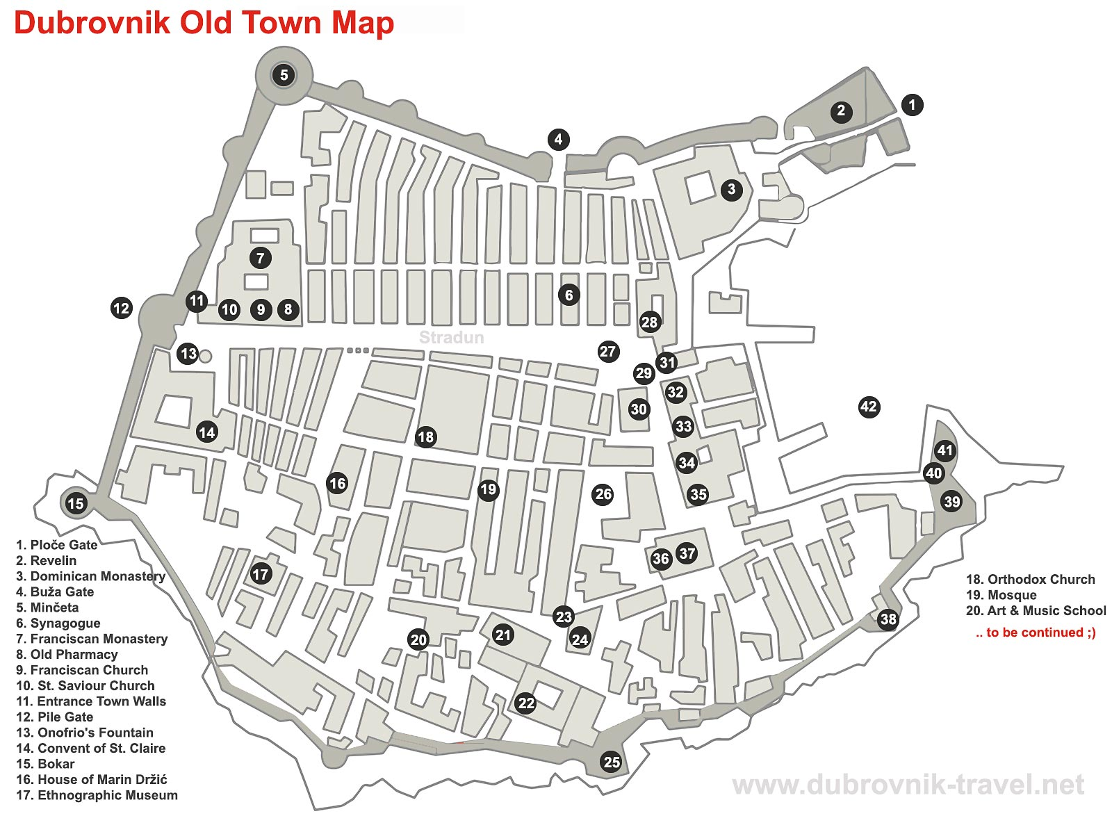Map of Dubrovnik Old City