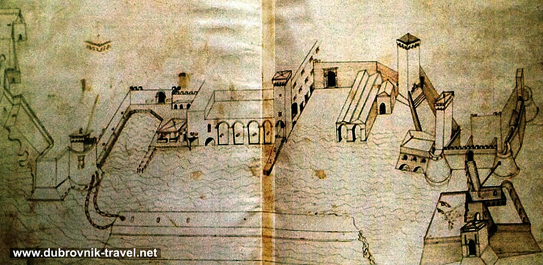 Drawing of Old Port of Dubrovnik from 15th century