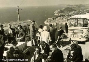 Visitors to Dubrovnik in 1950s - views over the old town