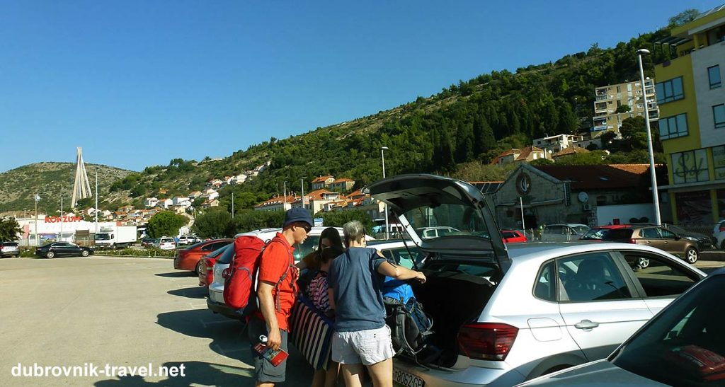 parking our rented car near ferry port in dubrovnik - The parking lot in Gruž Port