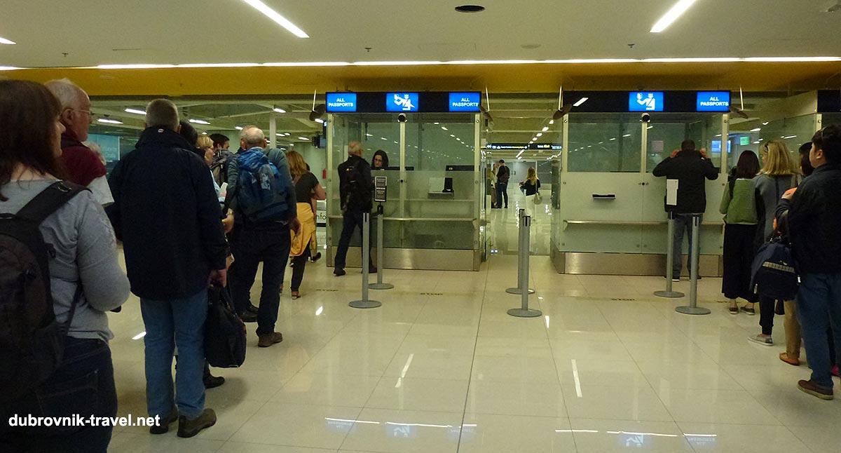 Passport control at Dubrovnik Airport