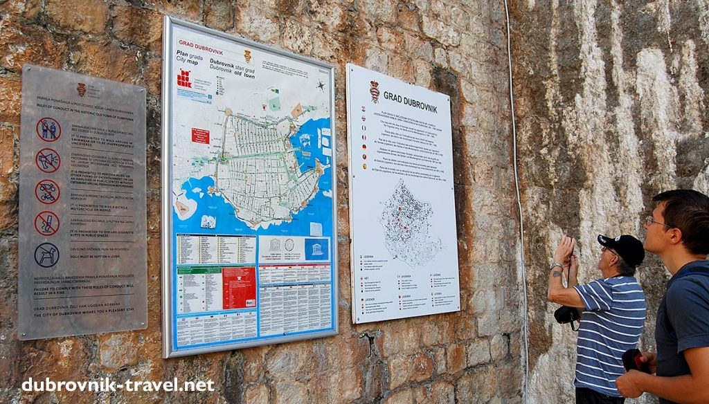Old town map displayed on the wall