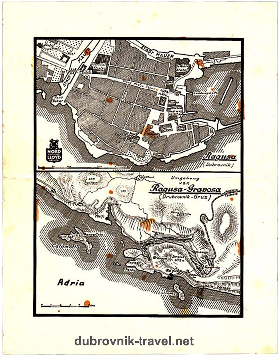 Map of Dubrovnik Old Town and Gruz port (1934)