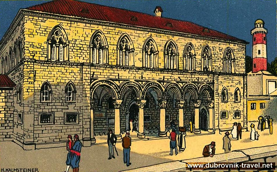19th Century Drawing of Rectors Palace in Dubrovnik