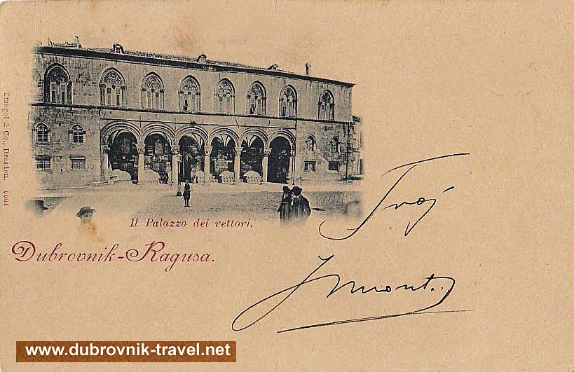 Old Postcard with Rectors Palace, Dubrovnik