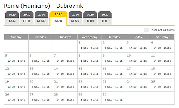 Rome - Dubrovnik direct flights schedule April to October
