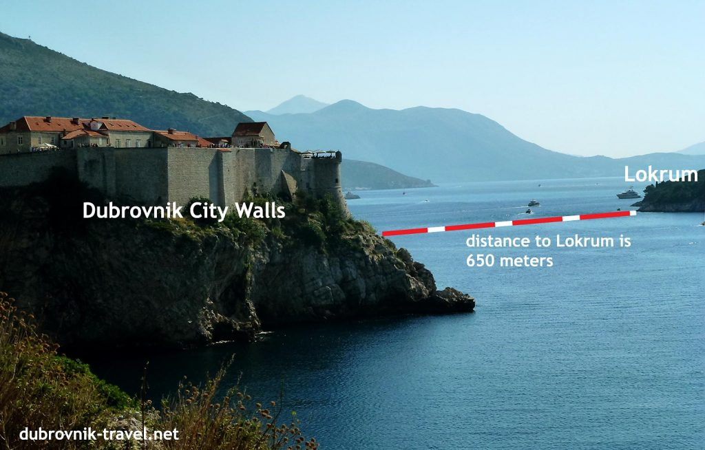 Old Town walls and Lokrum - the distance is 650 meters