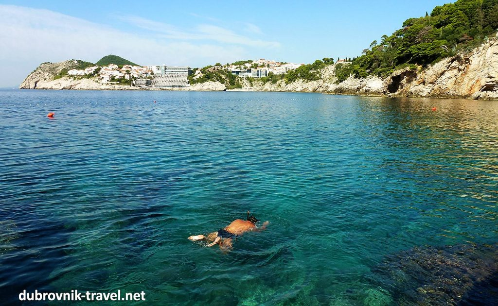 Sunny morning in September at Dubrovnik's Dance beach with lovely warm seawater, ideal for swimming and snorkelling
