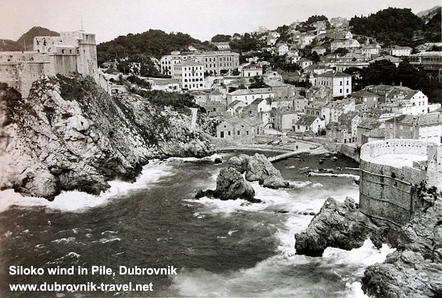 Siloko wind in Pile, Dubrovnik