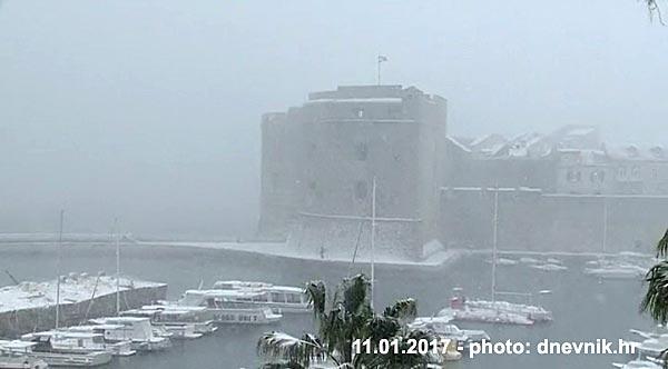 Snow in Dubrovnik January 2017