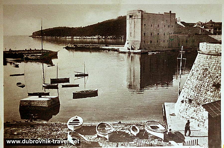 Sveti Ivan tower and Dubrovnik's Old harbour, image from 1920s