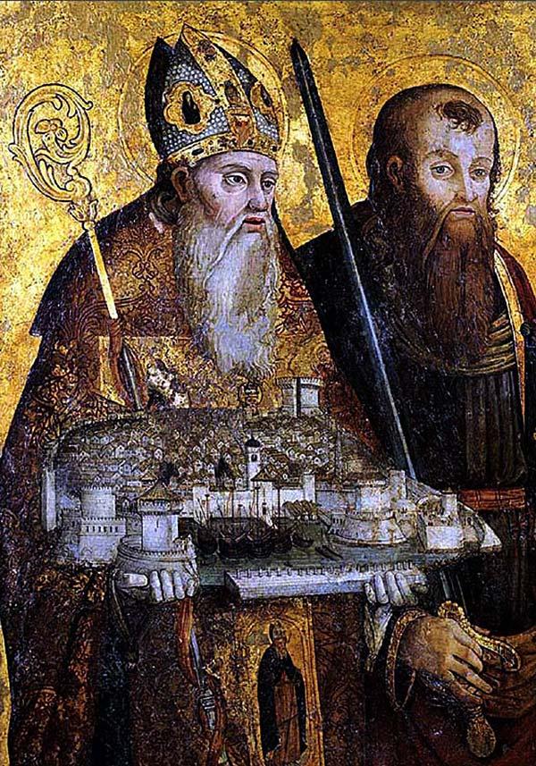 Sveti Vlaho (Saint Blaise) holding model of the Dubrovnik town